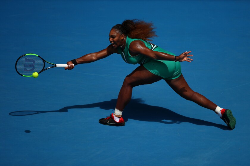 Serena Williams in action in her first round match against Tatjana Maria of Germany during Day 2 of the 2019 Australian Open at Melbourne Park.