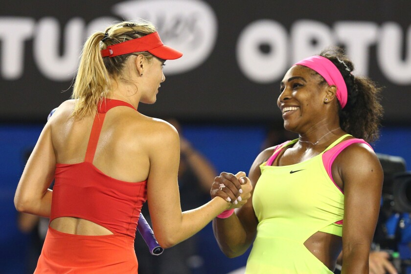 Maria Sharapova, left, and Serena Williams  will face each other in a first-round match at the U.S. Open.