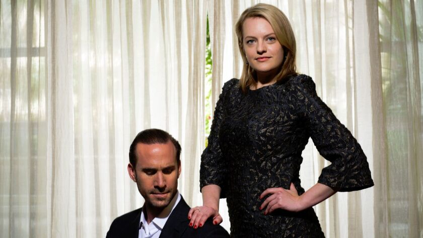 Joseph Fiennes and Elisabeth Moss at the Four Seasons hotel in Los Angeles on April 25, 2017.