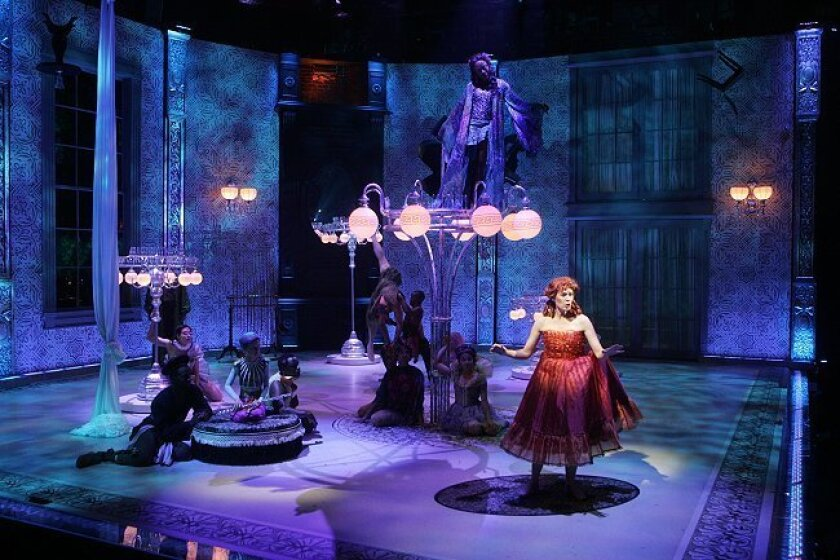 """Amanda Naughton dominates a dreamy setting during a dress rehearsal for the La Jolla Playhouse staging of """"A Midsummer Night's Dream."""""""