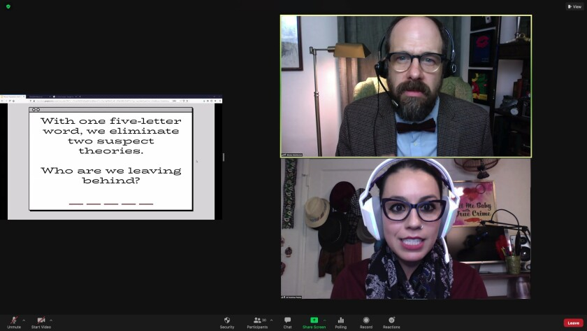 "A screen shot of Mike Ostroski and Paloma Nozicka in the Geffen Playhouse online production of ""Citizen Detective."""