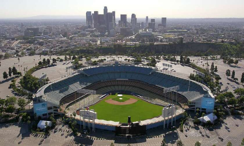 An aerial view of Dodger Stadium.