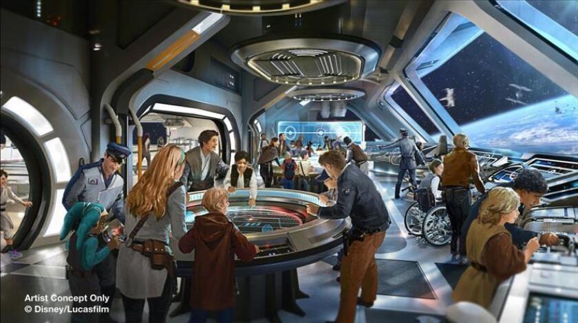 """Dibujo ilustrativo cedido hoy, lunes 12 de febrero de 2018, por Walt Disney World de la próxima atracción de Disney dedicada a la """"Guerra de las Galaxias"""" tanto en Disneyland Park, en California, como en Hollywood Studios, en Florida (EE.UU.). EFE/Walt Disney World/SOLO USO EDITORIAL/NO VENTAS"""