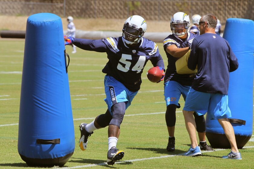 Outside linebacker Melvin Ingram participates in a drill.