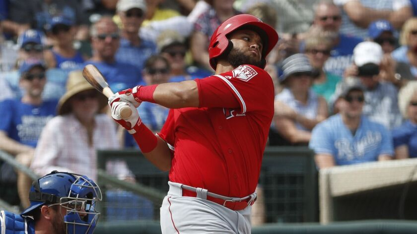 Los Angeles Angels' Jose Rojas hits against the Kansas City Royals during the second inning of a spr