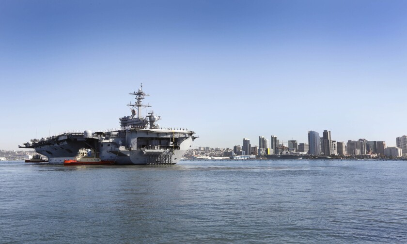 The aircraft carrier USS Theodore Roosevelt, the flagship of Carrier Strike Group 9 leaves North Island Naval Air Station for a regularly scheduled deployment.