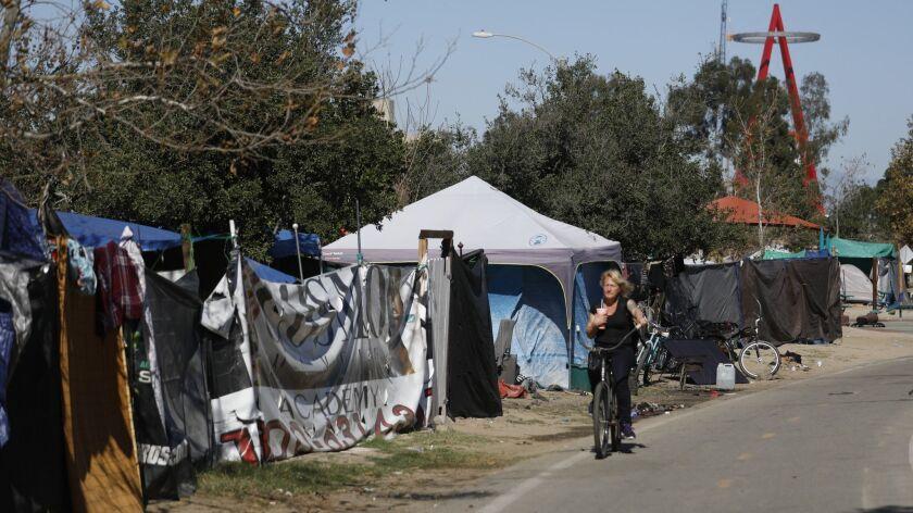 ANAHEIM, CALIF. -- WEDNESDAY, FEBRUARY 7, 2018: A homeless encampment along the Santa Ana River in A