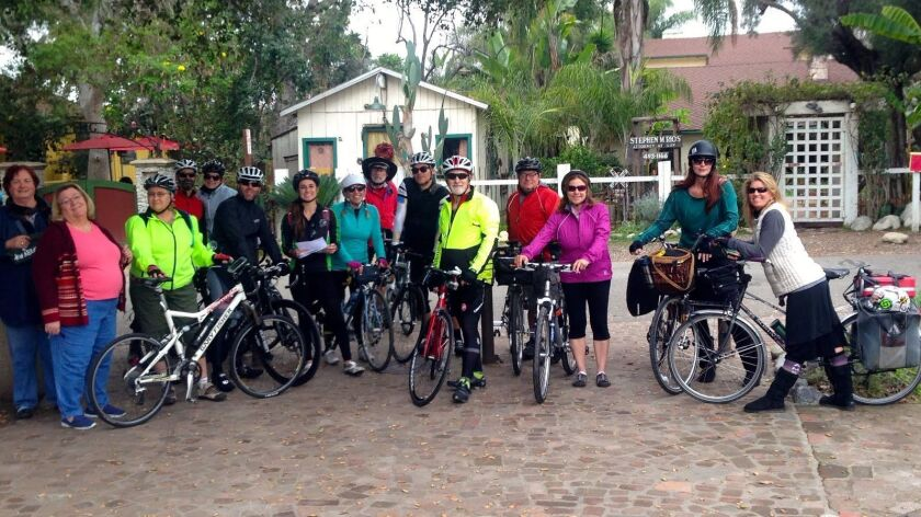 Members of the San Diego County Bicycle Coalition at the San Juan Capistrano train station in 2015 for the first annual Kerry's Ride Home.