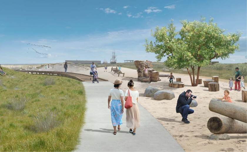 The 21-acre Sweetwater Park, part of the Chula Vista bayfront, includes a natural adventure area with boulders, logs, and rock-climbing structures all incorporated into a simulated dune experience.