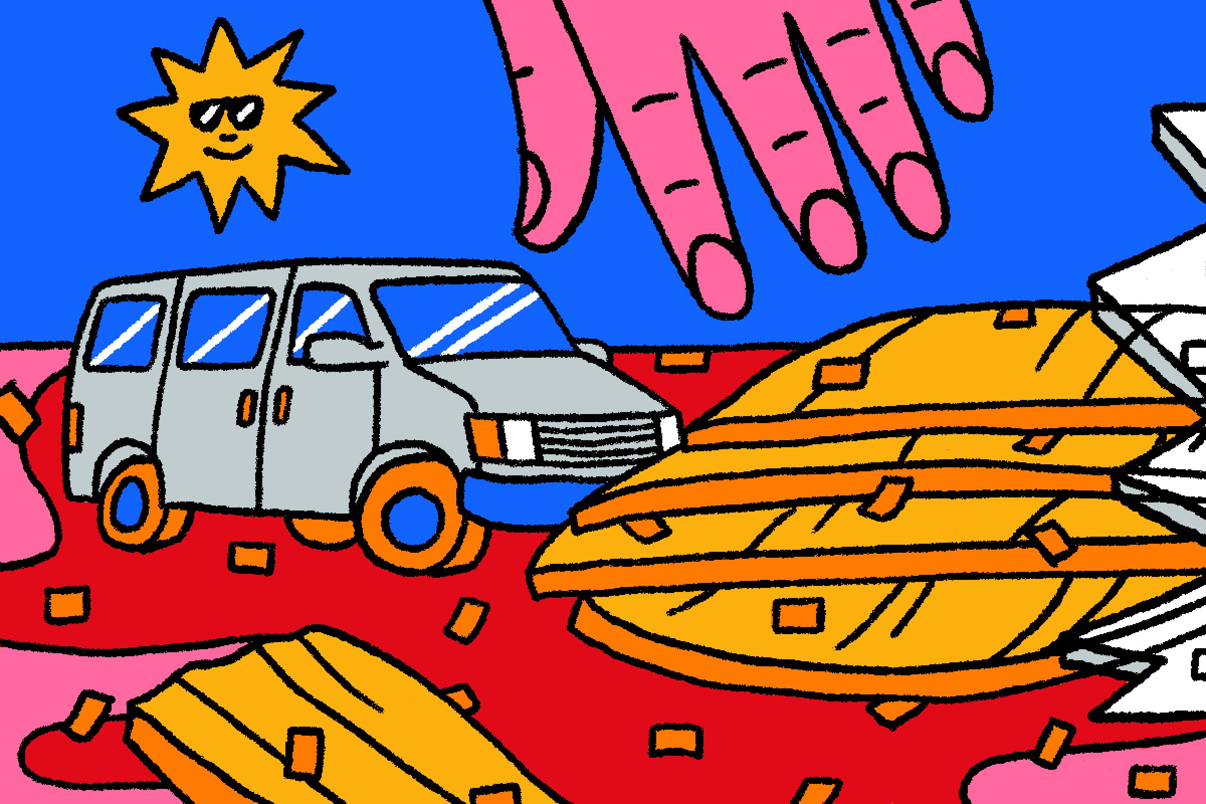 Illustration of a broken jar of kimchi, a hand and a 1995 Chevrolet Astro van.