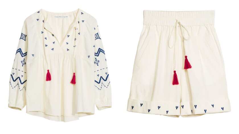 & Other Stories and Toms embroidered Avon blouse with tassel trim, $65, and embroidered Lea shorts w