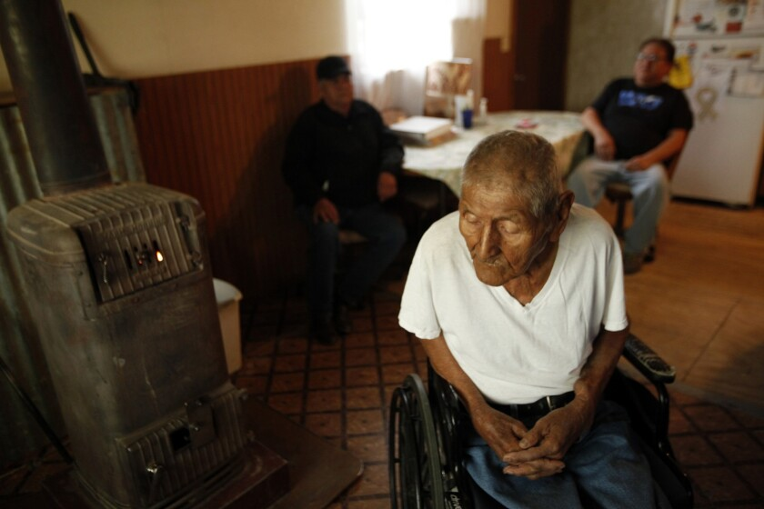 World War II veteran Tom Jones Jr., 89, was a Navajo code talker. The house he received as a veteran hasn't been maintained; its only heat source is a wood-burning stove, and the hall is too narrow to accommodate his wheelchair.