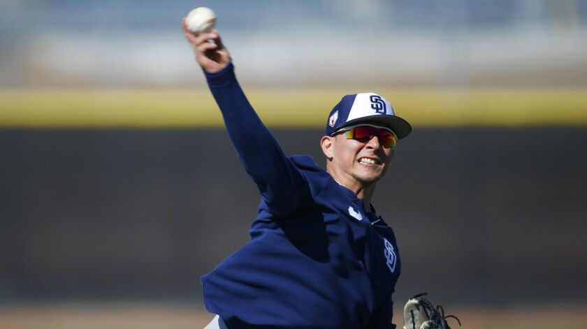Luis Urias makes a throw during a spring training workout.