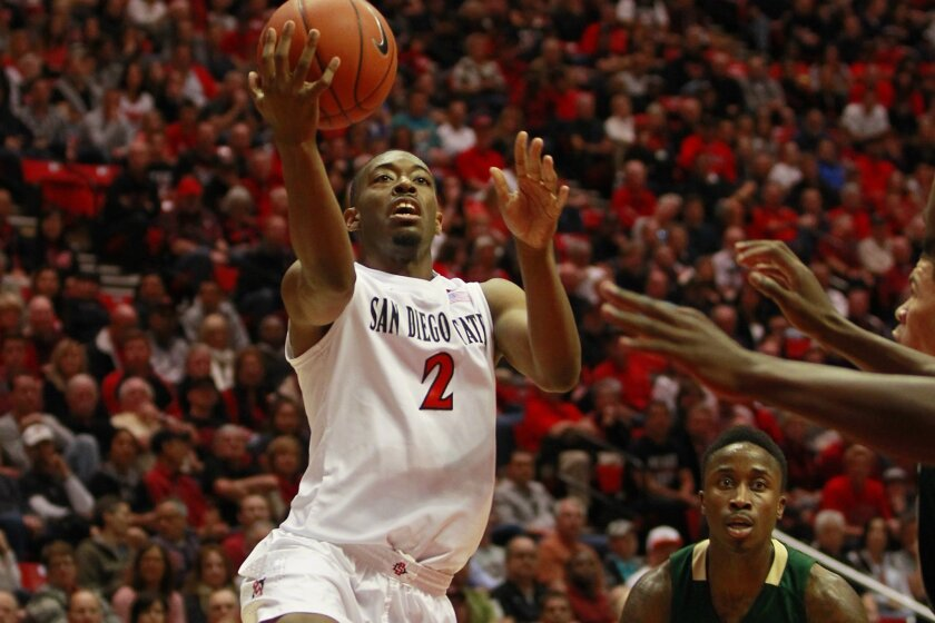 San Diego State's Xavier Thames shoots against Colorado State.