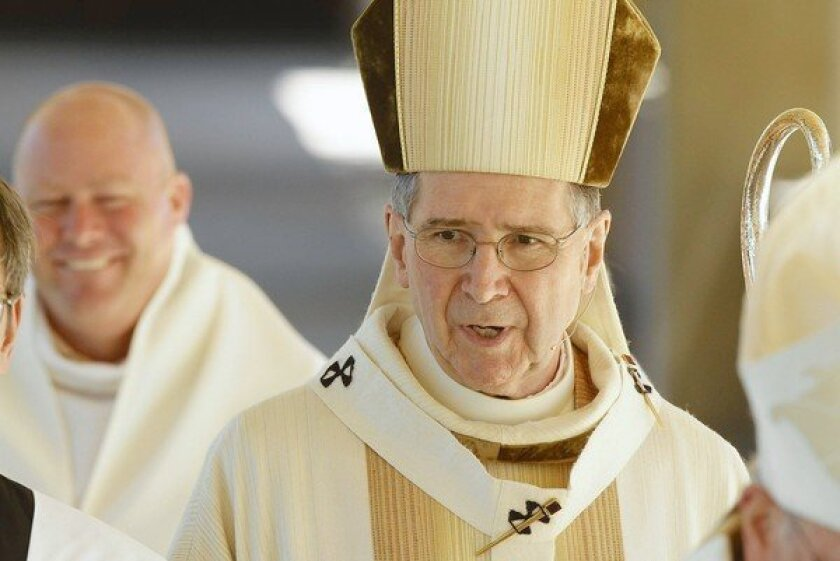 Cardinal Roger Mahony, shown in 2010, has been deposed many times, but Saturday's session was the first time he had been asked about recently released internal church records that show he shielded abusers from law enforcement.