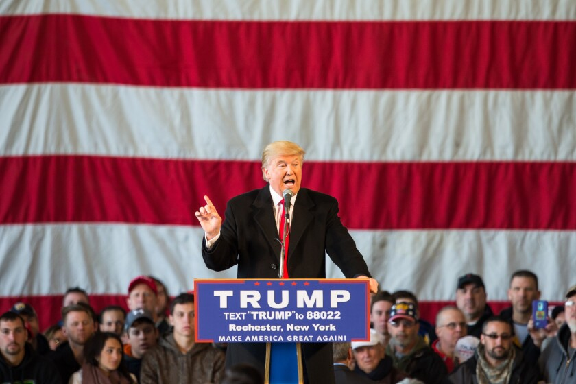 Republican presidential candidate Donald Trump speaks at a rally for his campaign on Sunday in Rochester, N.Y.