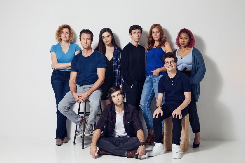L-R: (back row) Cast members Christiane Noll, Aaron Lazar, Maggie McKenna, Ben Levi Ross, Jessica Ph