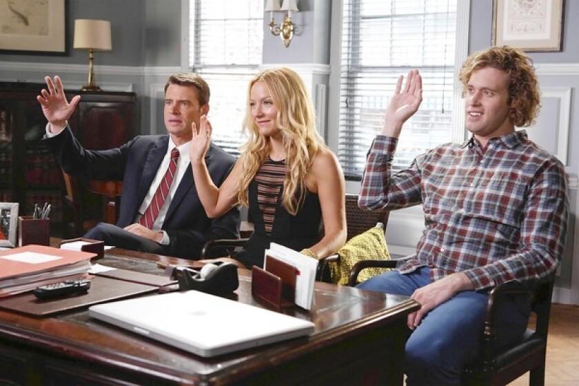 "Estranged siblings Henry (Scott Foley), left, Chloe (Becki Newton) and Jimmy (T.J. Miller) in ""The Goodwin Games."""