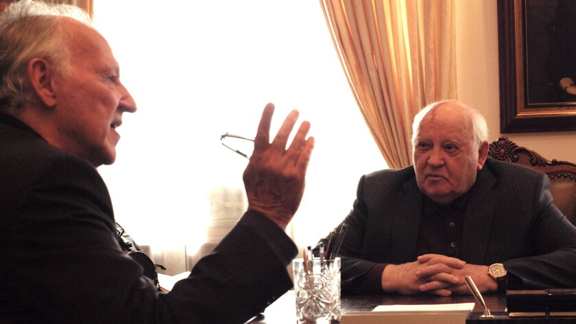 "(L-R)- Werner Herzog and Mikhail Gorbachev in a scene from ""Meeting Gorbachev."" Credit: 1091"