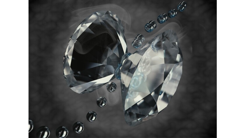 This artistic representation shows a hydrogen molecule being compressed by two diamond anvils. Scientists think they've discovered a new physical state of hydrogen using this device.