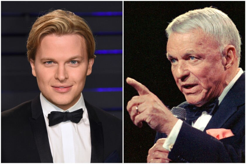 A photo mashup shows a headshot of Ronan Farrow on the left and Frank Sinatra, on the right, speaking into a microphone.