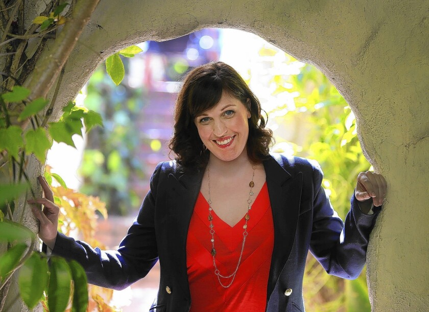 Allison Tolman in the garden of Chateau Marmont.