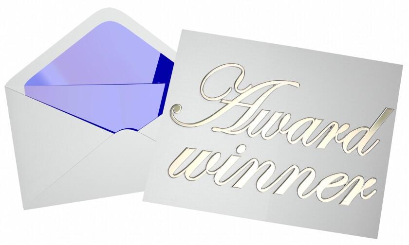 clip art of envelope with award winner card