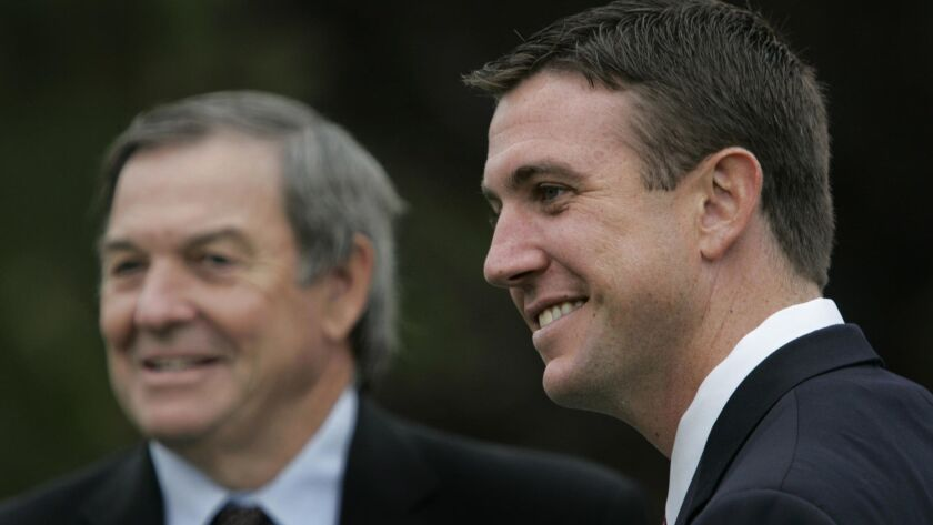 Duncan D. Hunter (right) replaced his father, Rep. Duncan Hunter (left), who decided not to seek re-election to Congress in 2008.