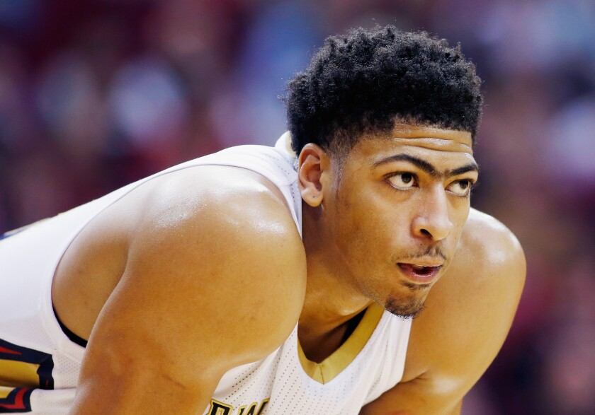 Anthony Davis waits on the court during a game against the Houston Rockets.
