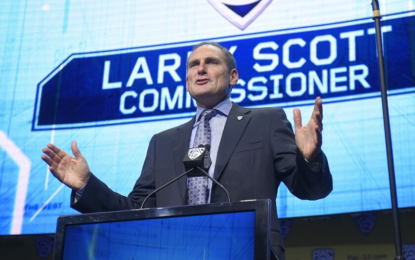 Pac-12 commissioner Larry Scott speaks at Pac-12 football Media Day.