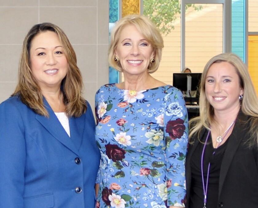 PUSD Supt. Marian Kim Phelps with Secretary of Education Betsy DeVos and Design 39 Campus teacher Megan Powers.