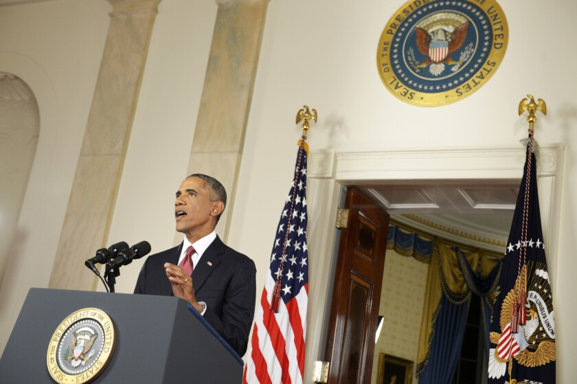President Obama addresses the nation about the Islamic State militant group from the Cross Hall in the White House in Washington on Wendesday.