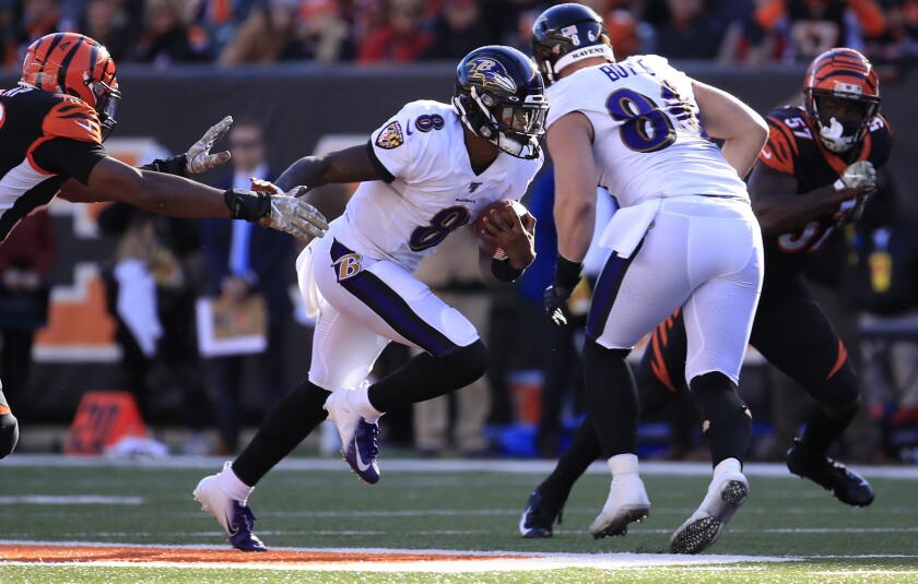 Baltimore Ravens quarterback Lamar Jackson runs for a touchdown against the Cincinnati Bengals.