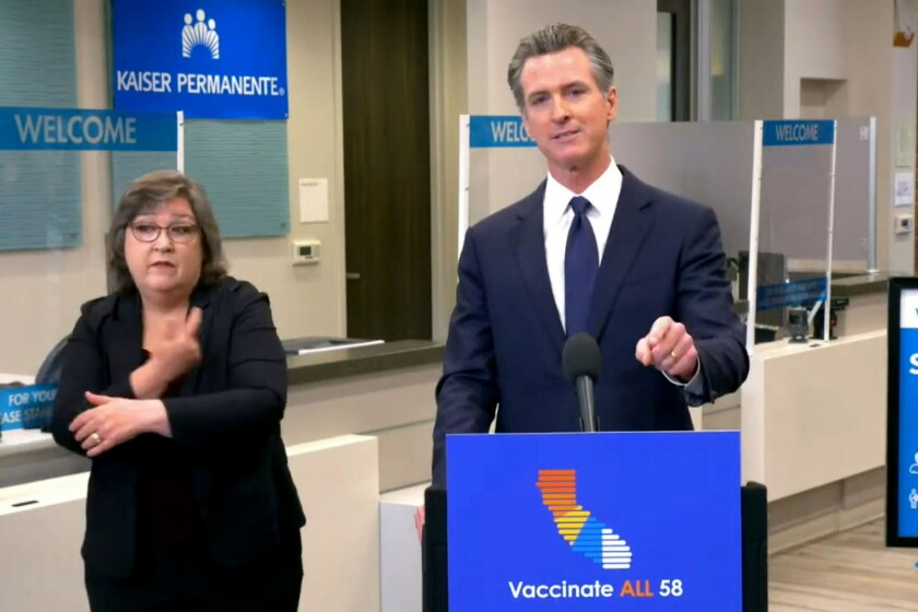 California will require state employees and all health care workers to show proof of a COVID-19 vaccination or get tested weekly, tightening restrictions in an effort to slow rising coronavirus infections in the nation's most populous state, mostly among the unvaccinated.