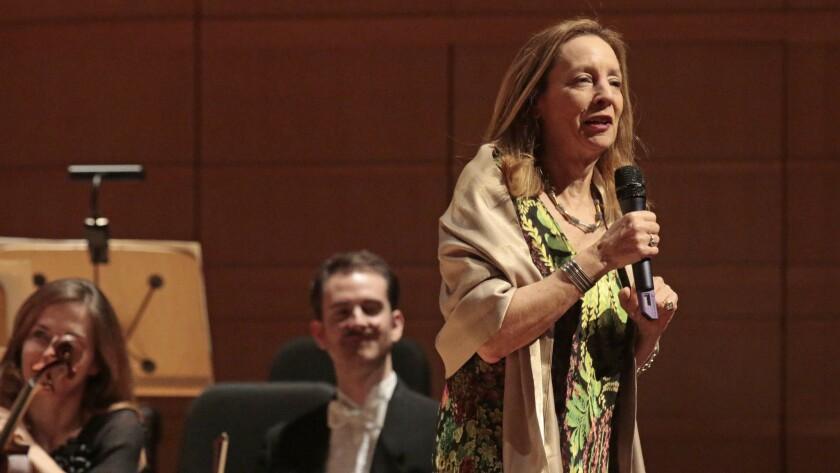 COSTA MESA, CA. JAN. 29, 2015. Special guest hostess Jamie Bernstein(daughter of Leonard Bernstein)