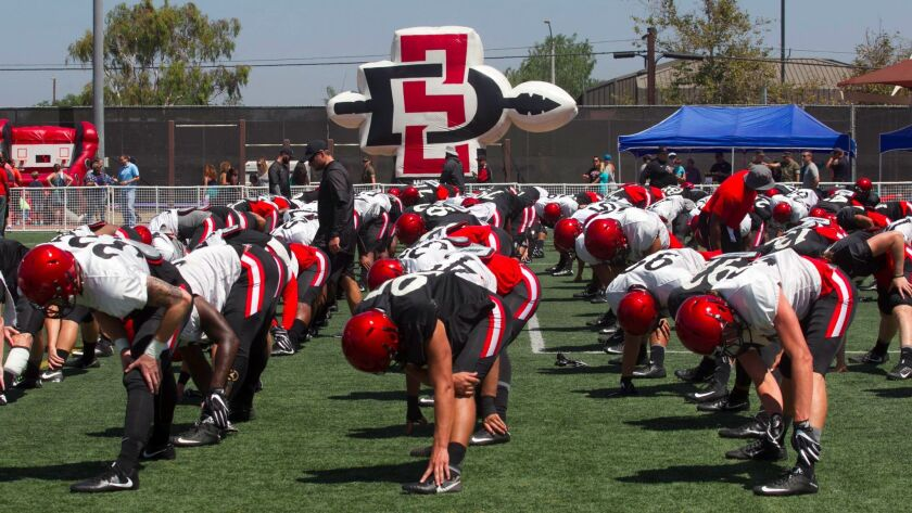 San Diego State football players stretch before Friday's practice at MCAS Miramar.