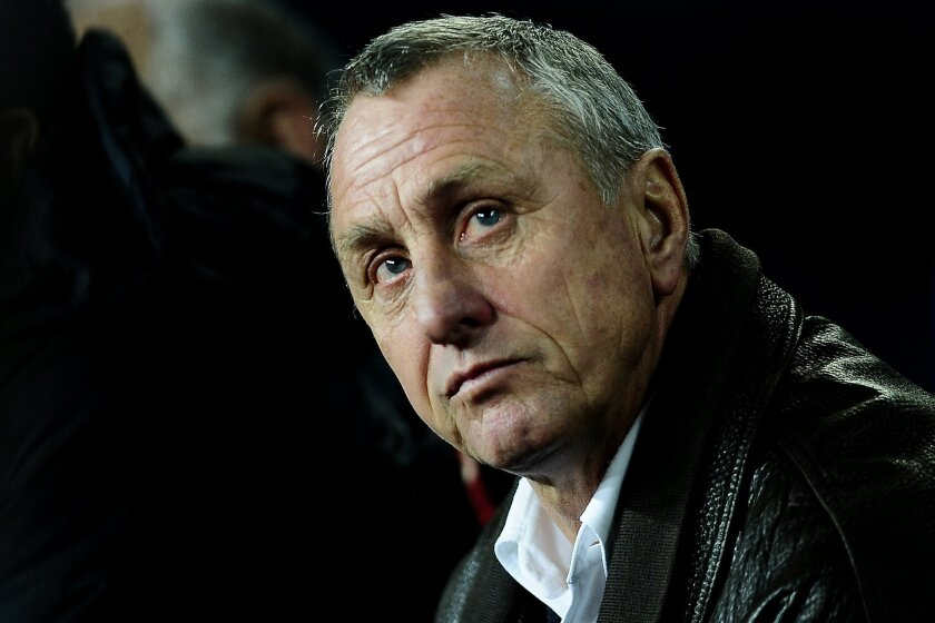 """FILE  - In this Dec. 22, 2009 file photo Dutch coach Johan Cruyff looks on during a friendly soccer match of Catalunya against Argentina at the Camp Nou stadium in Barcelona, Spain. Dutch soccer great Johan Cruyff says he is """"2-0 up in the first half"""" and confident he will go on to win his battle a"""