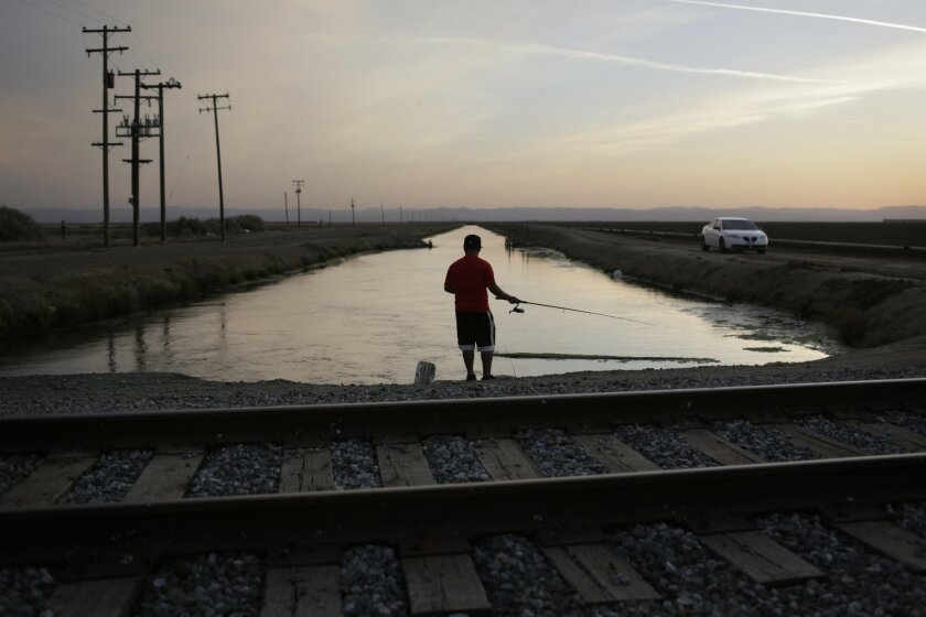 In this May 3, 2014 photo, Rigoberto Arroyo, 18, fishes from a canal in Mendota, Calif. In the small farming town many farmworkers live in fear of losing their jobs as California is experiencing extreme drought conditions. (AP Photo/Jae C. Hong)
