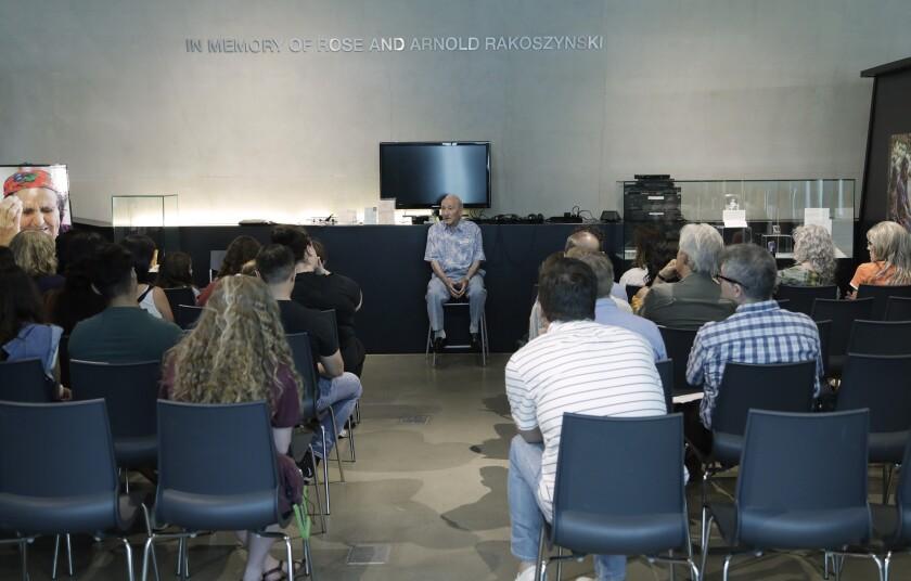 Holocaust survivor Joseph Alexander speaks at the Los Angeles Museum of the Holocaust