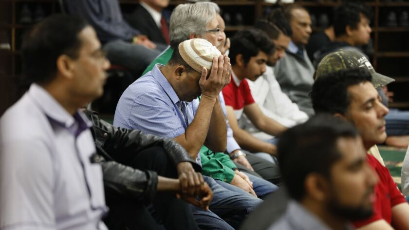 LOS ANGELES, CALIFORNIA--MARCH 15, 2019--Muslims and people of all faiths come together in prayer at
