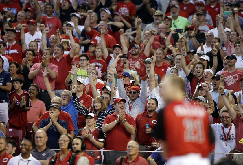 Fans cheer for National League's Todd Frazier, of the Cincinnati Reds, as he hits during the MLB All-Star baseball Home Run Derby, Monday, July 13, 2015, in Cincinnati. (AP Photo/John Minchillo)