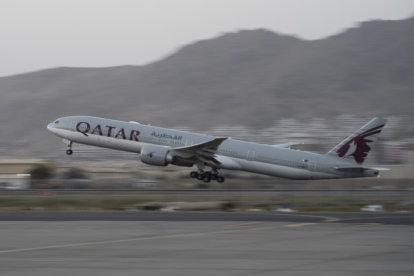 Qatar Airways aircraft takes off with foreigners from the airport in Kabul