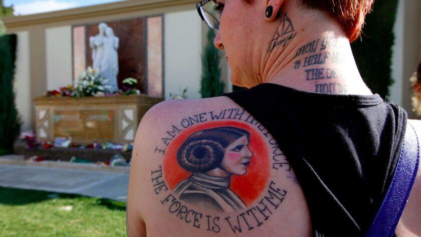 LOS ANGELES, CA MARCH 25, 2017: Katie Walker, 35, Of Joshua Tree, has a Princess Leia tattoo on he
