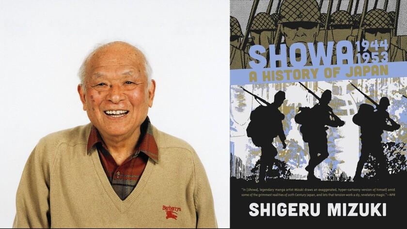 "Author Shigeru Mizuki and the cover of graphic novel ""Showa 1944-1953: A History of Japan"""