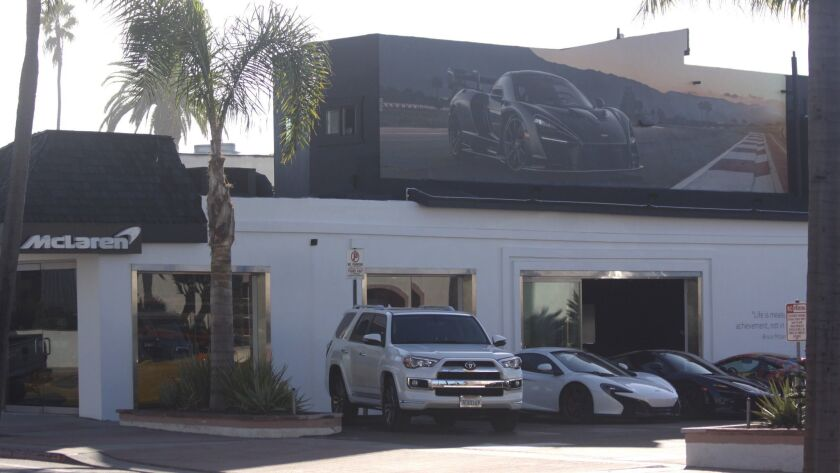 The installation above the O'Gara Coach/McLaren car dealership at 7440 La Jolla Blvd.