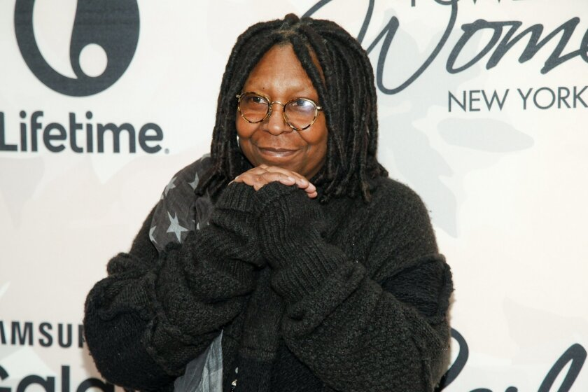 FILE - In this April 24, 2015 file photo, Whoopi Goldberg attends Variety's Power of Women Luncheon at Cipriani Midtown, in New York. Goldberg, Kevin Hart, Benicio Del Toro have been added to the list of presenters at the Academy Awards on Feb. 28, 2016. The Academy of Motion Pictures Arts and Sciences on Thursday, Jan. 28, 2016, announced 11 names taking part in the show. Lady Gaga, the Weeknd and Sam Smith will also perform. (Photo by Andy Kropa/Invision/AP, File)