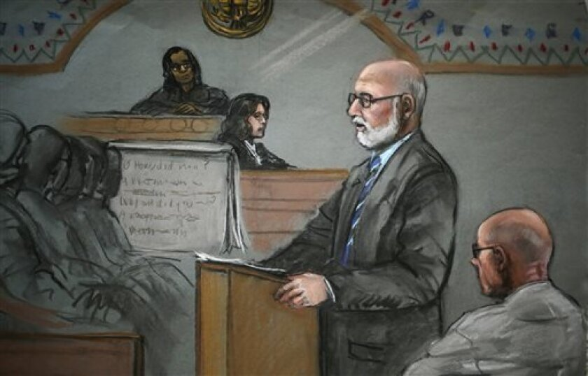 """In this courtroom sketch, James """"Whitey"""" Bulger, right, listens to his defensive attorney, J.W. Carney Jr., during closing arguments at U.S. District Court, in Boston, Monday, Aug. 5, 2013. Bulger's lawyers used their closing arguments to go after three gangsters who took the stand against the reputed Boston crime boss, portraying them as pathological liars whose testimony was bought and paid for by prosecutors. (AP Photo/Jane Flavell Collins)"""