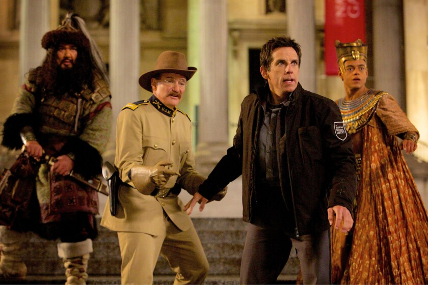 "Patrick Gallagher, Robin Williams, Ben Stiller and Rami Malek in ""Night at the Museum: Secret of the Tomb"" (2014)."
