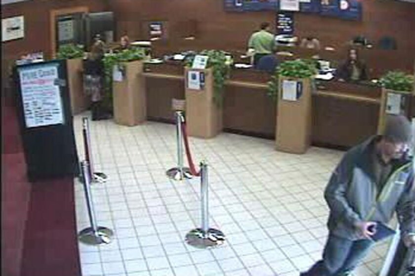 Bank surveillance photo of the robber at US Bank in Ocean Beach. / FBI