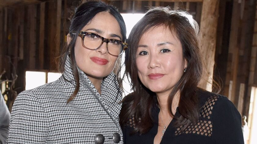 Salma Hayek, left, with ChefDance founder Mimi Kim, who opened her Park City home for the Glamour magazine and Girlgaze-hosted lunch celebrating women in film.